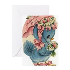 Vintage Easter Blue Bird Bonnet Greeting Card