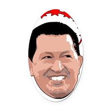 Hugo Chavez Red Crown Oval Car Magnet