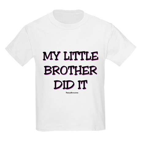 My Little Brother Did It Bib - Purple Kids Light T