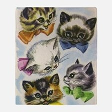 Vintage Kittens in Bow Ties Throw Blanket