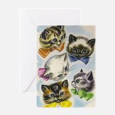 Vintage Kittens in Bow Ties Greeting Card