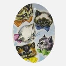 Vintage Kittens in Bow Ties Oval Ornament