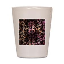 Damask pattern on pink and yellow Shot Glass