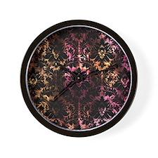 Damask pattern on pink and yellow Wall Clock