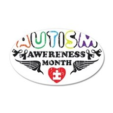 Autism awereness month 35x21 Oval Wall Decal