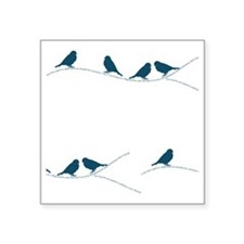 "Birds on Branches Square Sticker 3"" x 3"""