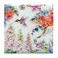 Hummingbirds and Flowers Landscape Tile Coaster