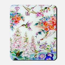 Hummingbirds and Flowers Landscape Mousepad