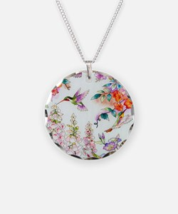 Hummingbirds and Flowers Lan Necklace