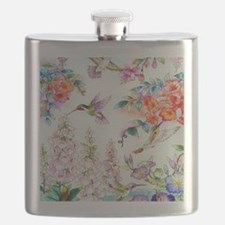Hummingbirds and Flowers Landscape Flask