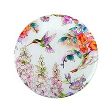 "Hummingbirds and Flowers Landscape 3.5"" Button"