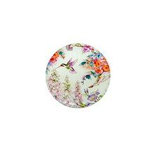 Hummingbirds and Flowers Landscape Mini Button