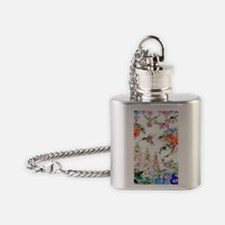 Hummingbirds and Flowers Landscape Flask Necklace