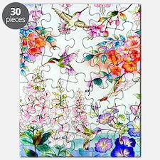 Hummingbirds and Flowers Landscape Puzzle