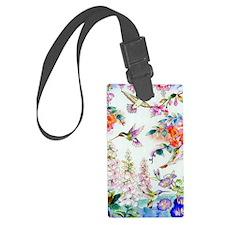 Hummingbirds and Flowers Landsca Luggage Tag