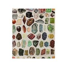 Vintage Geology Rocks Gemstones Throw Blanket