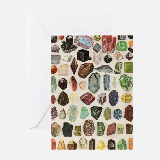 Vintage Geology Rocks Gemstones Greeting Card