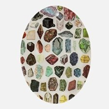 Vintage Geology Rocks Gemstones Oval Ornament
