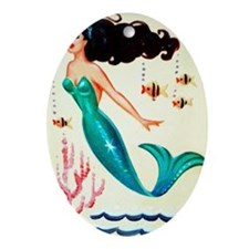 Vintage Mermaid Under the Sea Oval Ornament