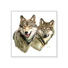 "Wolf Heads Square Sticker 3"" x 3"""