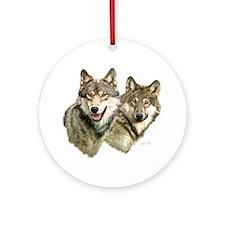 Wolf Heads Round Ornament