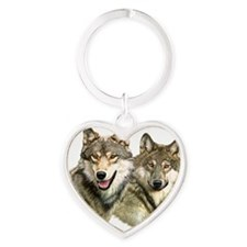 Wolf Heads Heart Keychain