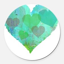 GREEN HEART DESIGN cute abstract Round Car Magnet