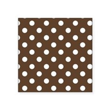 """Dotted Chocolate Brown Square Sticker 3"""" x 3"""""""