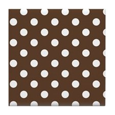 Dotted Chocolate Brown Tile Coaster
