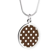 Dotted Chocolate Brown Silver Round Necklace
