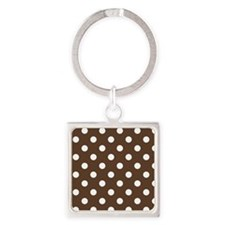 Dotted Chocolate Brown Square Keychain
