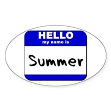hello my name is summer Oval Decal