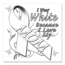 "I Wear White Because I L Square Car Magnet 3"" x 3"""