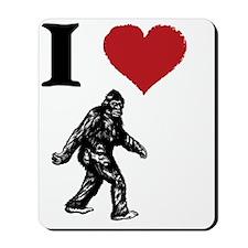 I LOVE SASQUATCH BIGFOOT T SHIRT Mousepad