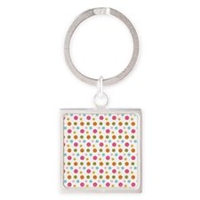 Whimsical Dots Square Keychain
