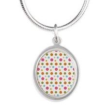 Whimsical Dots Silver Oval Necklace