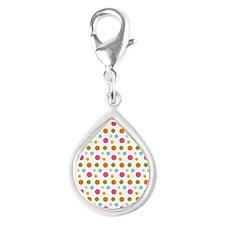 Whimsical Dots Silver Teardrop Charm