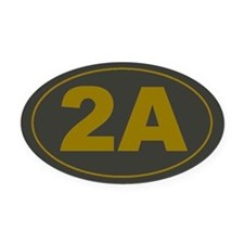 2A Oval_Dark Olive/HE Yellow Oval Car Magnet
