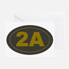 2A Oval_Dark Olive/HE Yellow Greeting Card
