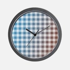Blue and Red Gingham Wall Clock