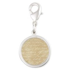 Ivory Script Silver Round Charm