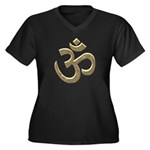 Golden Ohm & Buddha Quote Women's Plus Size V-Neck