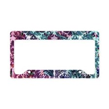 Damask pattern on pink and bl License Plate Holder