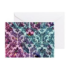Damask pattern on pink and blue Greeting Card