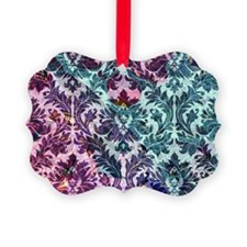 Damask pattern on pink and blue Ornament