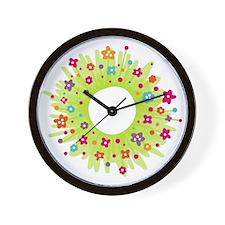 Spring Flower Wreath Wall Clock