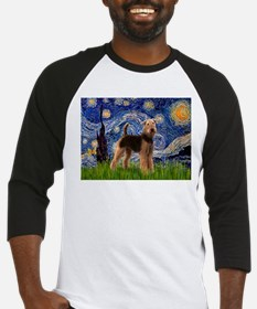 Starry Night - Airedale #6 Baseball Jersey