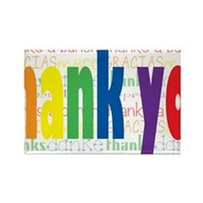 Rainbow Thank You Greeting Rectangle Magnet