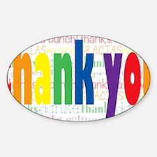 Rainbow Thank You Greeting Sticker (Oval)