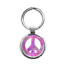 PURPLE HEART PEACE SIGN Round Keychain